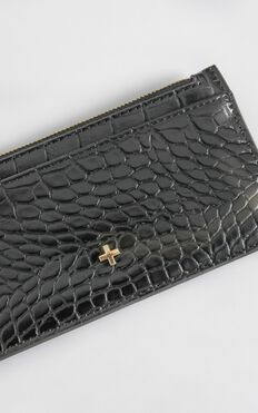 Peta and Jain - Marley Card Holder in Black Croc