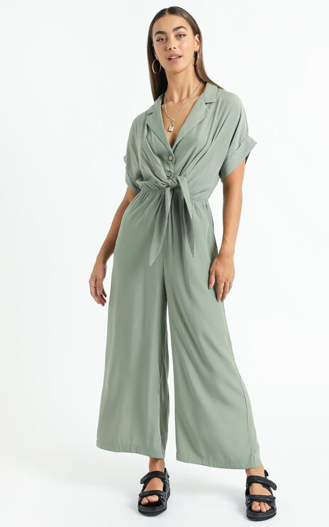 Theresa Tie Front Jumpsuit in Khaki