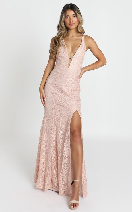 Madison maxi dress in blush sequin