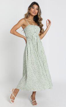 Phoenix Shirred Bodice Midi Dress In Green Floral