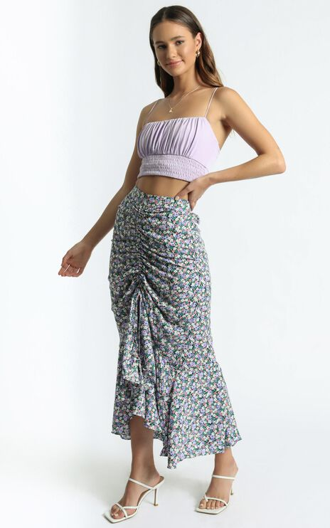Despina Skirt in Purple Floral