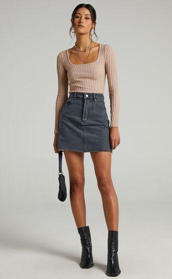 Rollas - Classic Mini Denim Skirt in Vintage Black