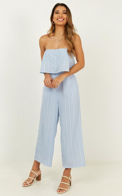 To Be Honest Jumpsuit In Blue Stripe