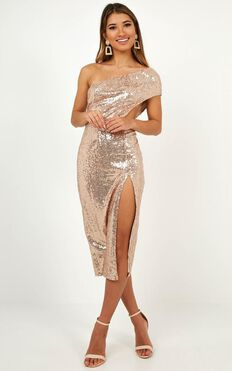 It Aint Me But You Midi Dress In Rose Gold