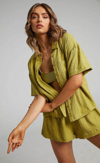 Donita Button up Shirt in Olive