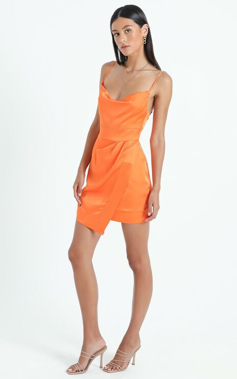 Naesa Dress in Orange Satin