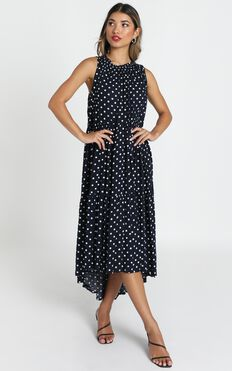 Crack The Case Dress In Navy Spot