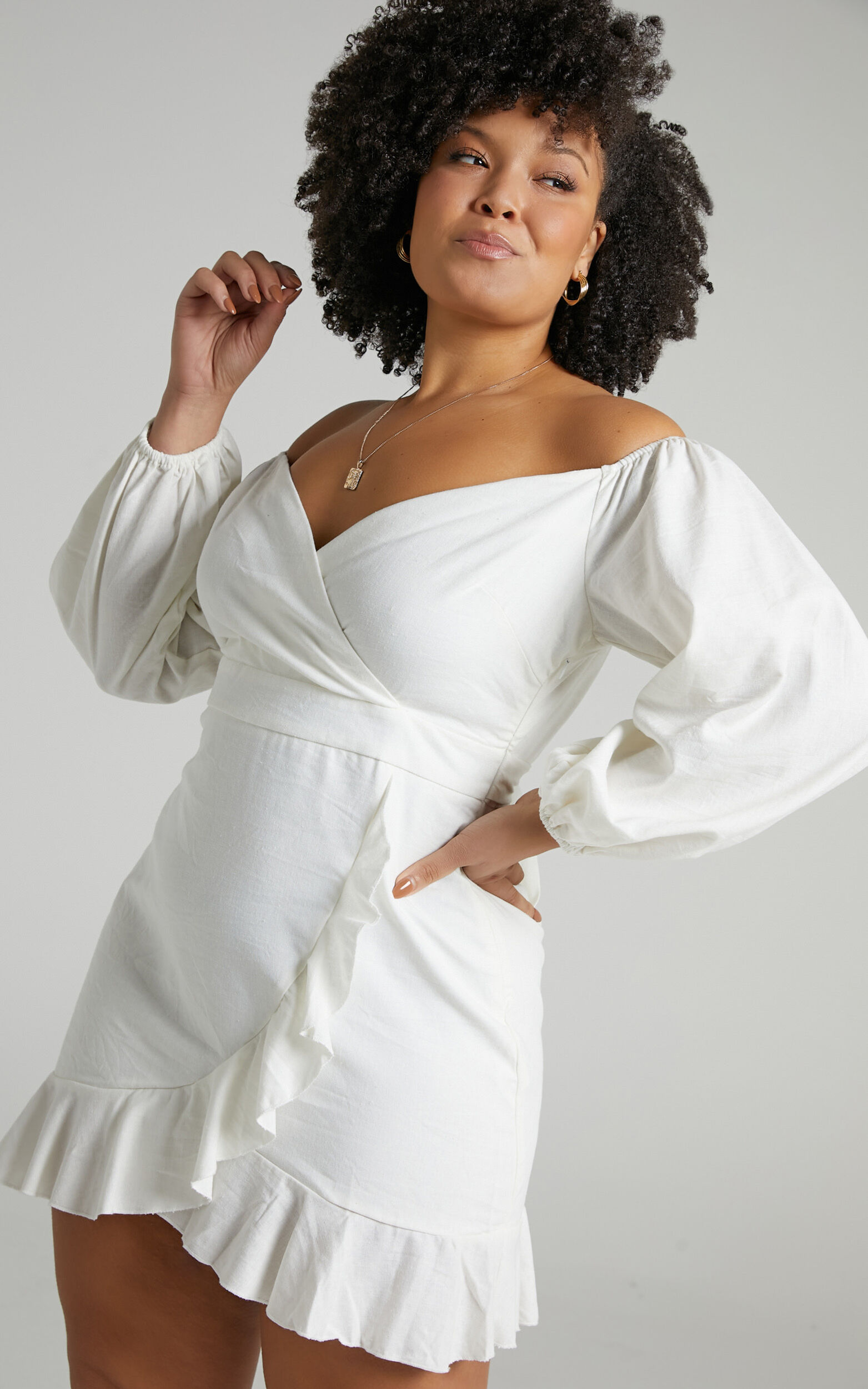 Cant Move On Off Shoulder Mini Dress in White Linen Look - 20, WHT6, super-hi-res image number null