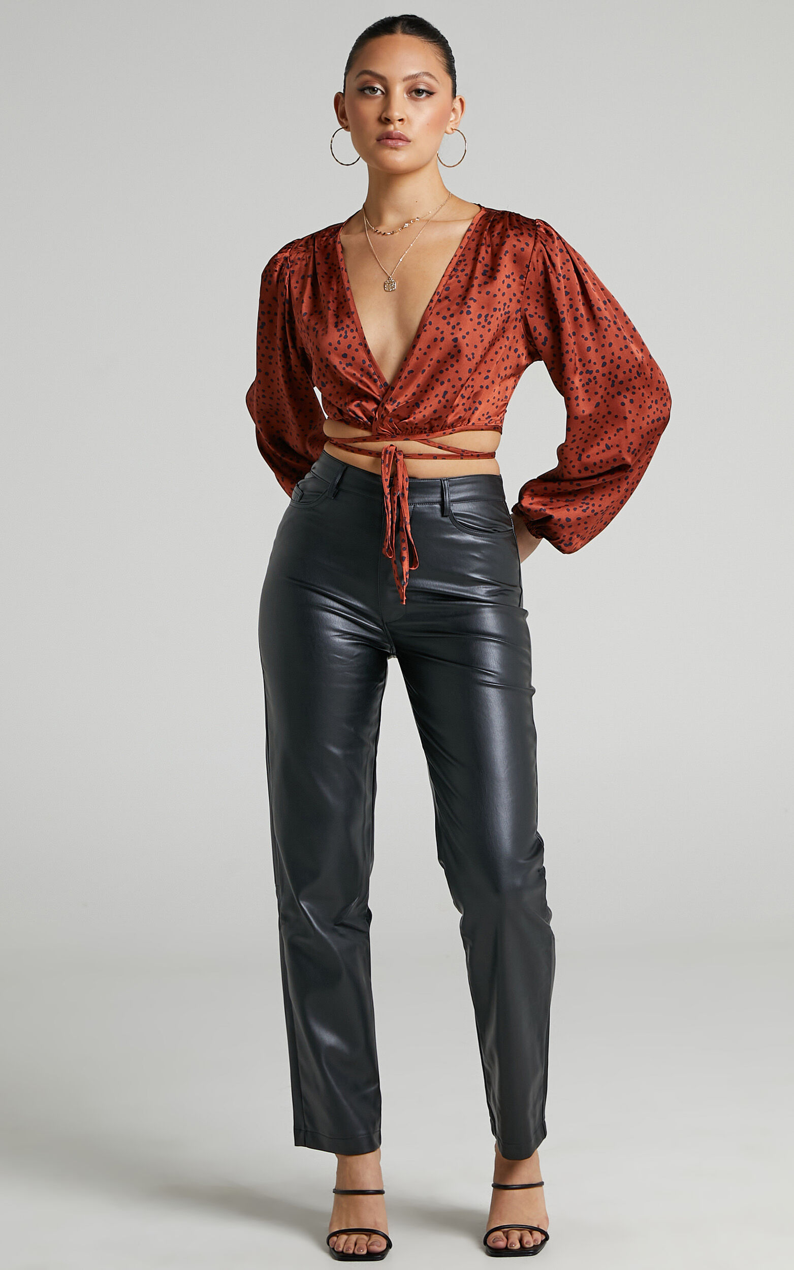 Cressy Long Sleeve Wrap Tie Top in Copper Spot - 06, GLD1, super-hi-res image number null