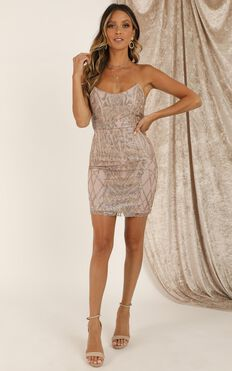 Let The Beat Drop Dress In Gold Sequin