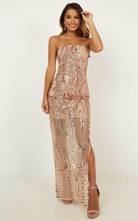 American Hero Maxi Dress In Rose Gold Sequin