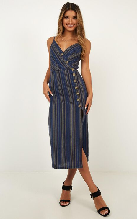 Miracle Love Dress In Navy Stripe