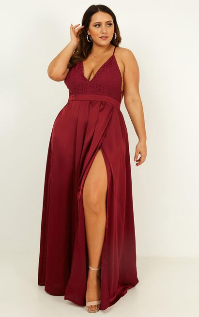 Inspired Tribe Maxi Dress In wine - 20 (XXXXL), Wine, hi-res image number null