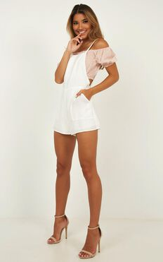 Bird Sounds Playsuit In White