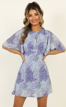 Cheers To Us Dress In Blue Floral