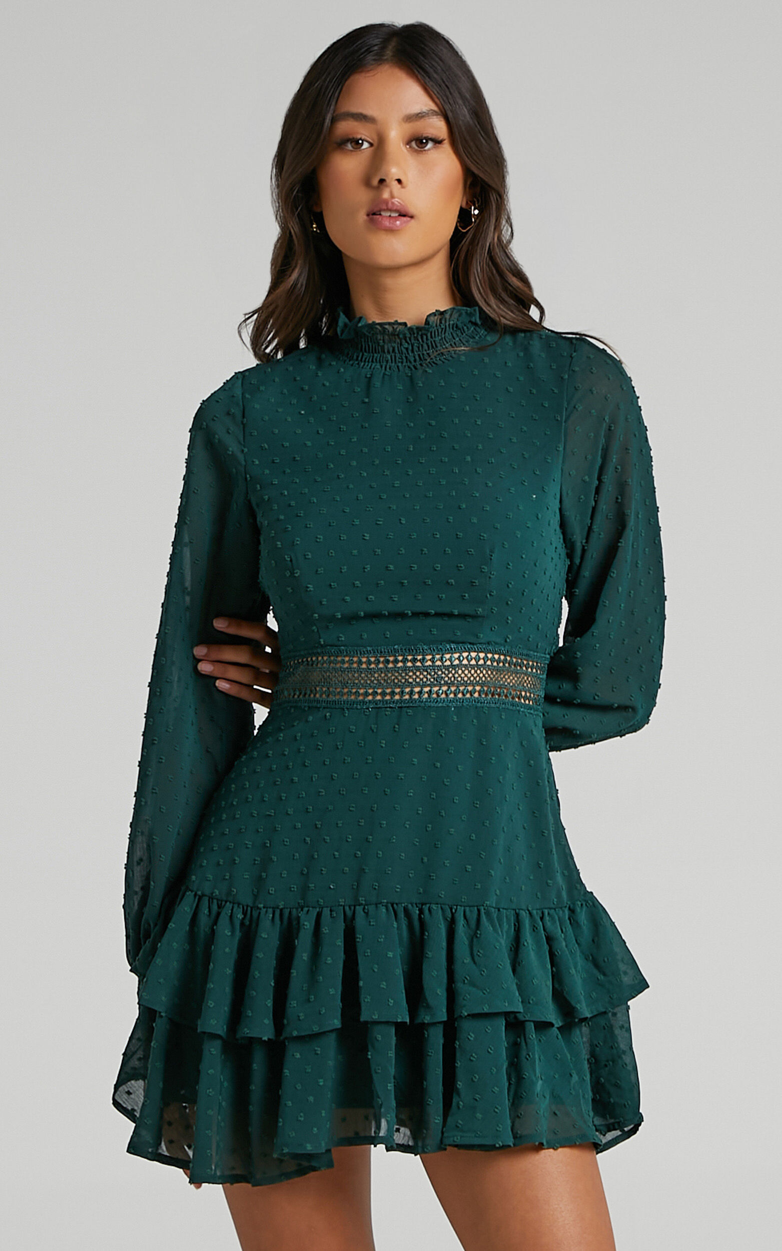 Are You Gonna Kiss Me Long Sleeve Mini Dress in Emerald - 20, GRN4, super-hi-res image number null