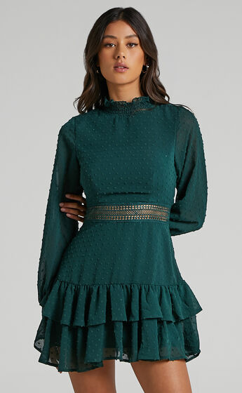 Are You Gonna Kiss Me Long Sleeve Mini Dress in Emerald