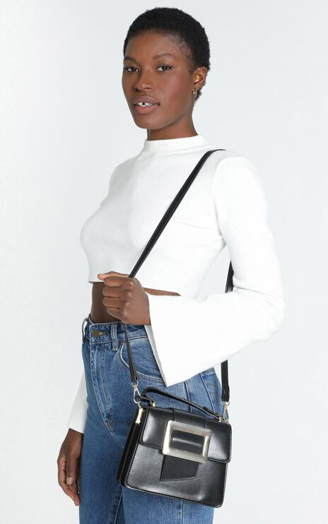In Time Buckle Sling Bag in Black and Gold