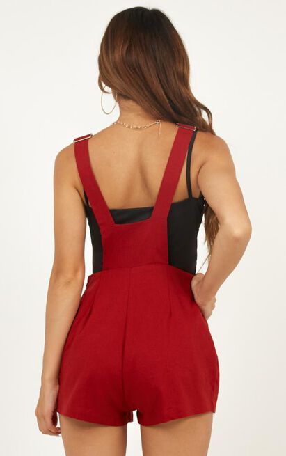 City Of Light Playsuit in chilli linen look - 12 (L), Rust, hi-res image number null