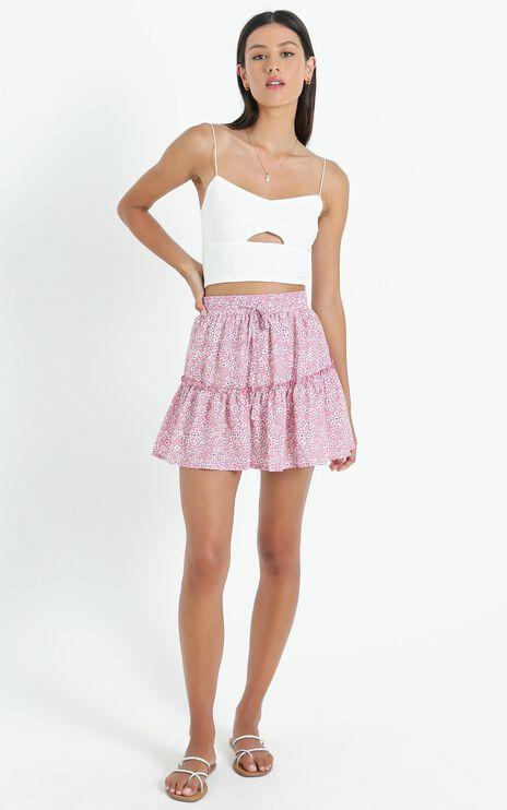 Seek Me Out Skirt In Red Print