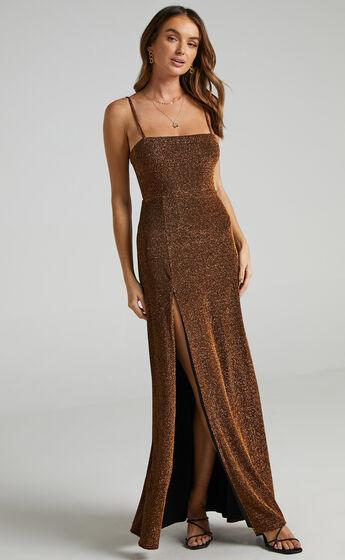 Rheannon Split Mesh Maxi Dress in Copper Lurex