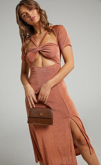 Lyanna Cut Out Midi Dress in Tan