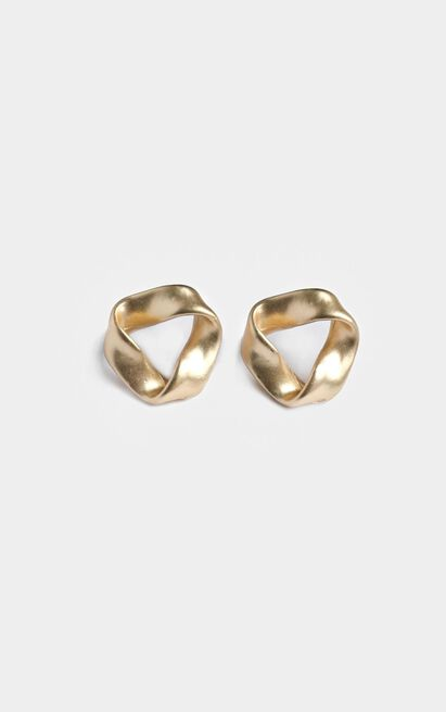 French Duo Twist Stud Earrings in Gold, , hi-res image number null