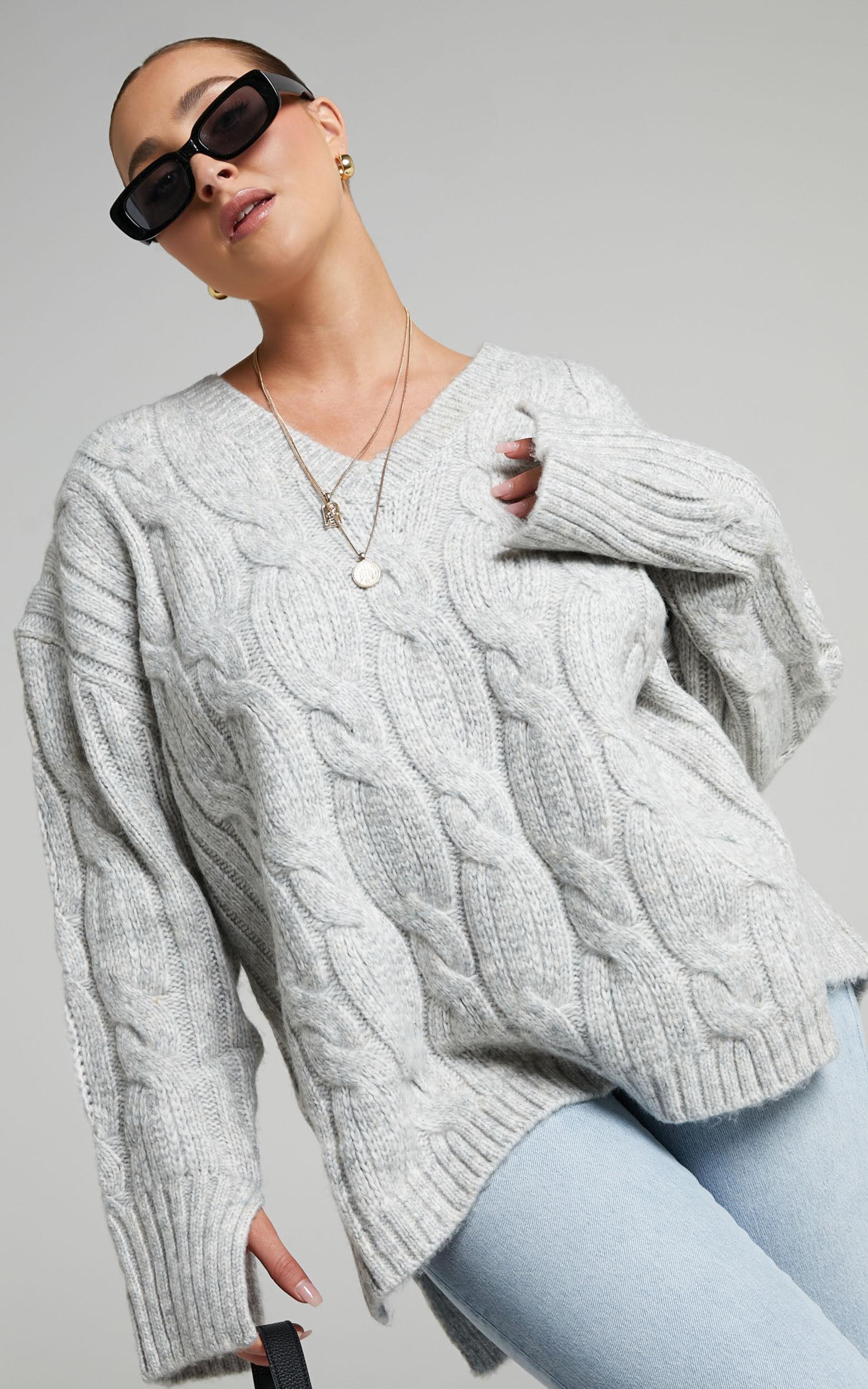 Josie V Neck Oversized Cable Knit Jumper in Grey Marle - 06, GRY1, super-hi-res image number null