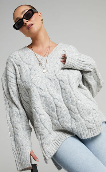 Josie V Neck Oversized Cable Knit Jumper in Grey Marle