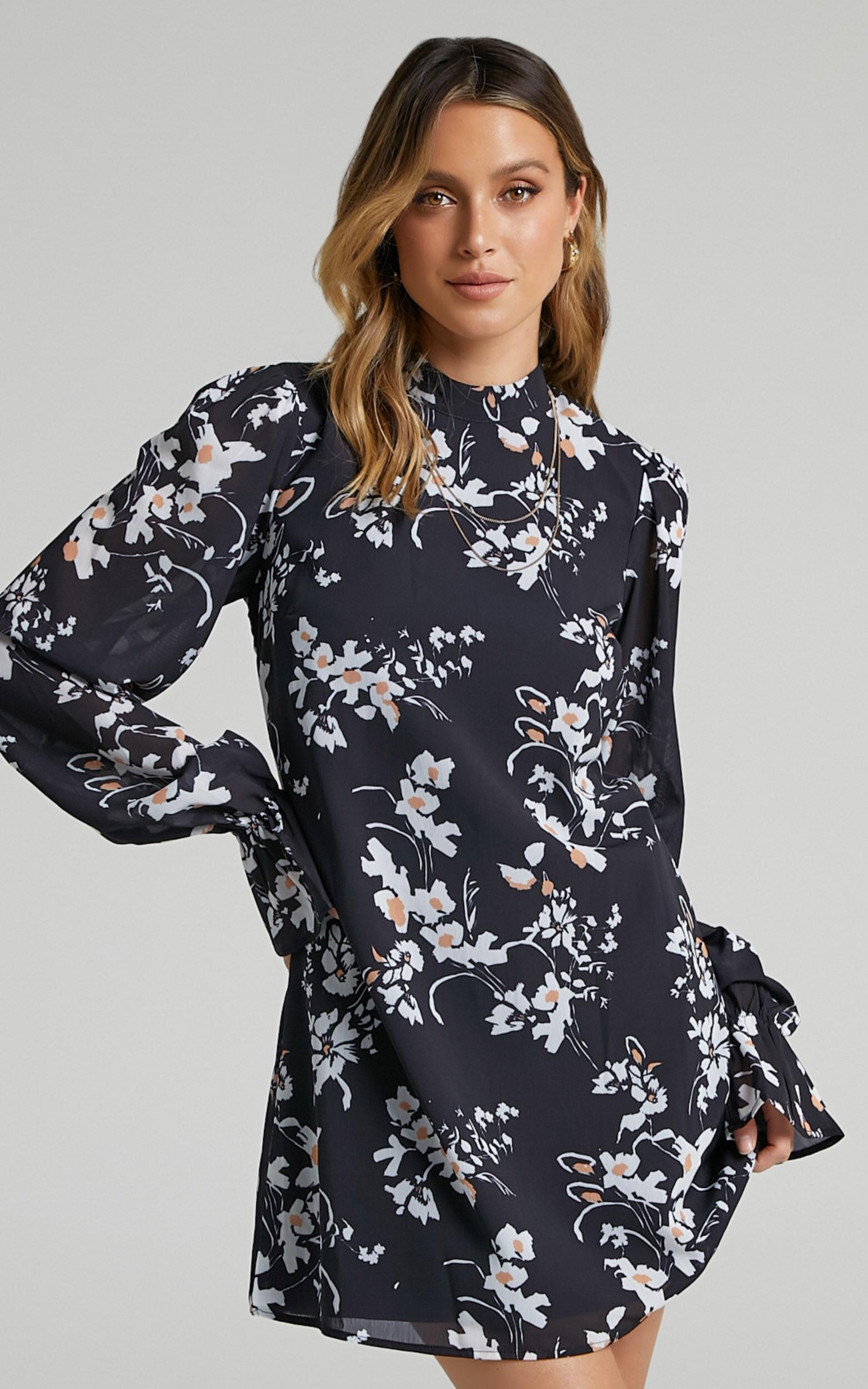 Arlowe High Neck Open Back Mini Dress in Black Floral - 06, BLK1, super-hi-res image number null