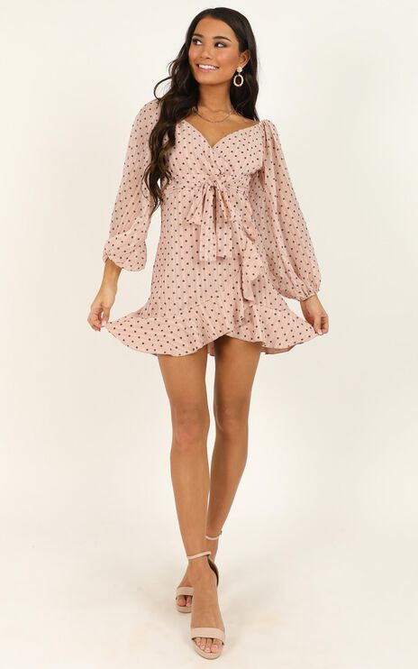You Are Such A Dream Dress In Blush Flocked Spot