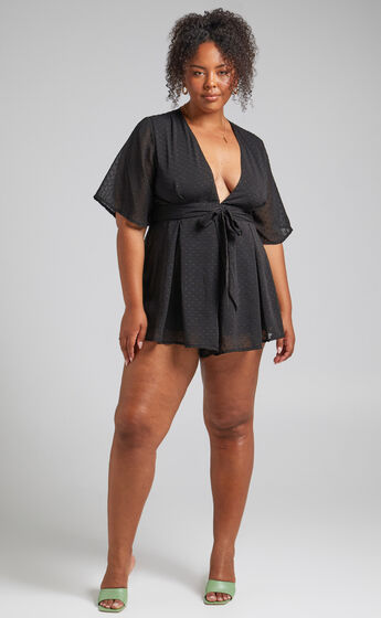Chains Hit My Chest Plunge Mini Playsuit in Black