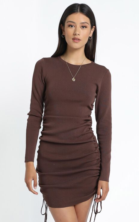 Lioness - Military Minds Long Sleeve Dress in Cocoa