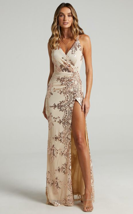 Out Till Dawn Dress In Rose Gold Sequin