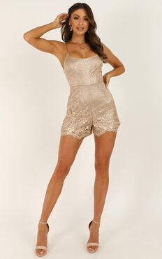 The Last Time Playsuit In Gold
