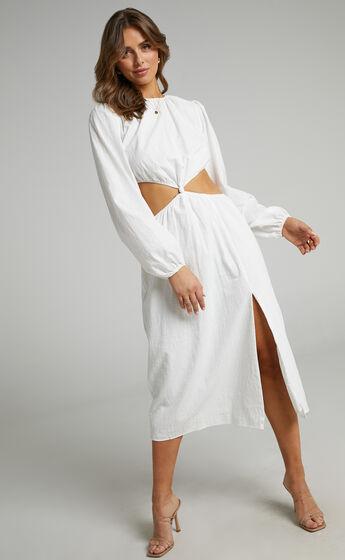 Amera Knot Front Midi Dress in White