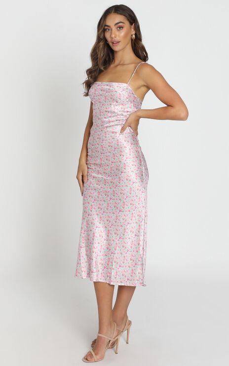 Regina Satin Slip Dress in Pink Floral
