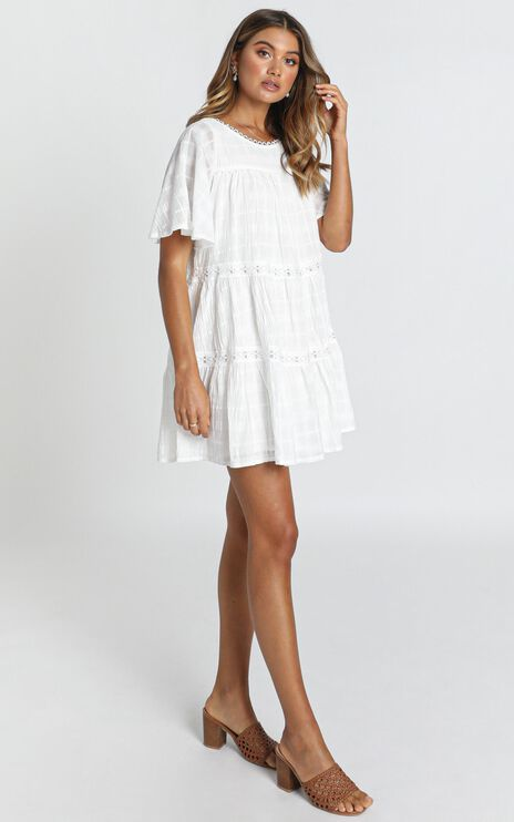 Oceana Tiered Smock Dress In White