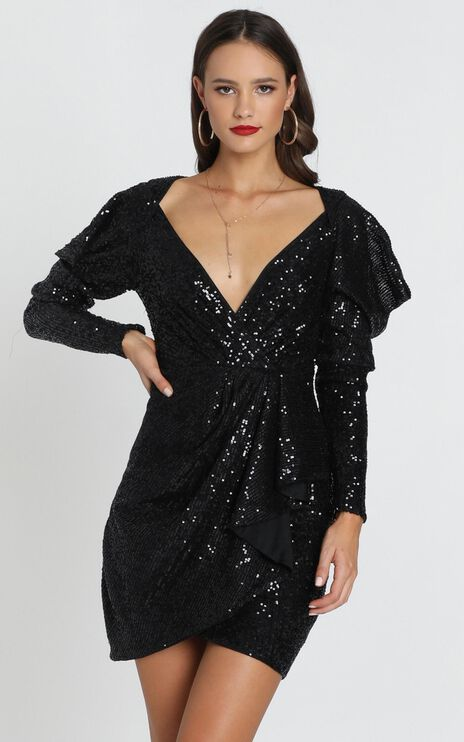 Lucie Dress In Black Sequin