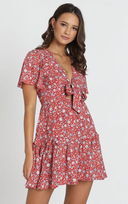Georgia Tie Front Mini Dress in red floral - 12 (L), Red, hi-res image number null