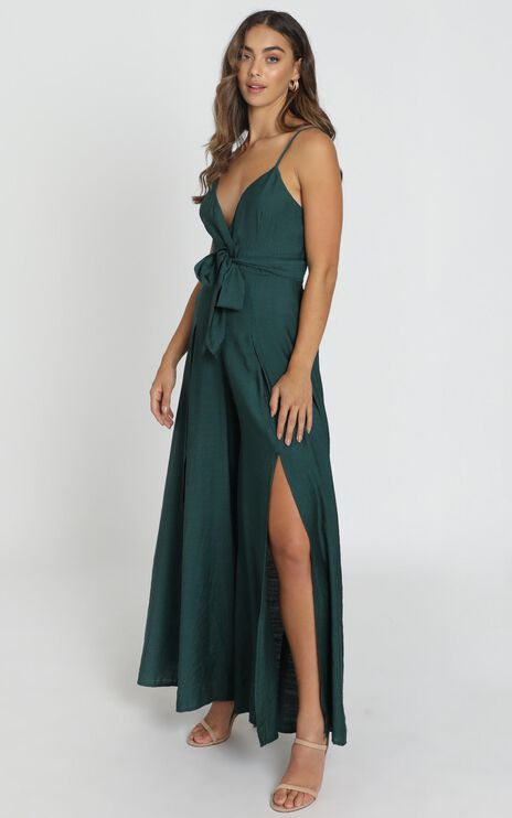 Written In History Jumpsuit In Forest Green
