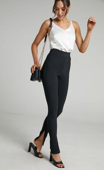 Aspen Split Hem Jersey Pants in Black