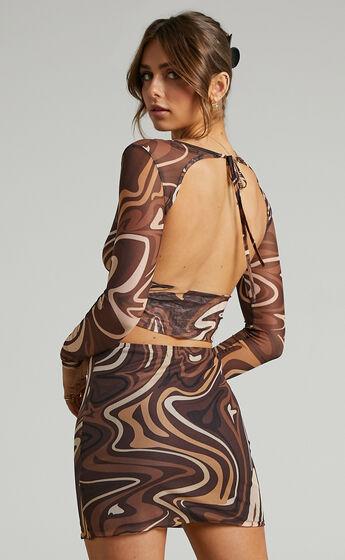 Ababa Retro Swirl Mini Skirt in Chocolate