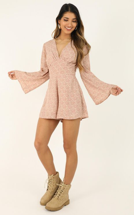 Mystery Lover Playsuit In Blush Floral