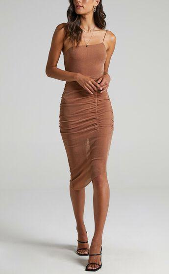Annelie Dress in Tan Lurex