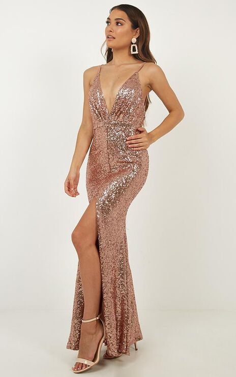 Doing My Thing Dress In Rose Gold Sequin