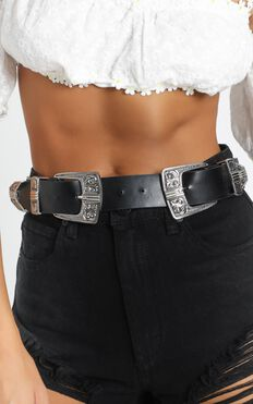 High Road Belt In Black And Silver