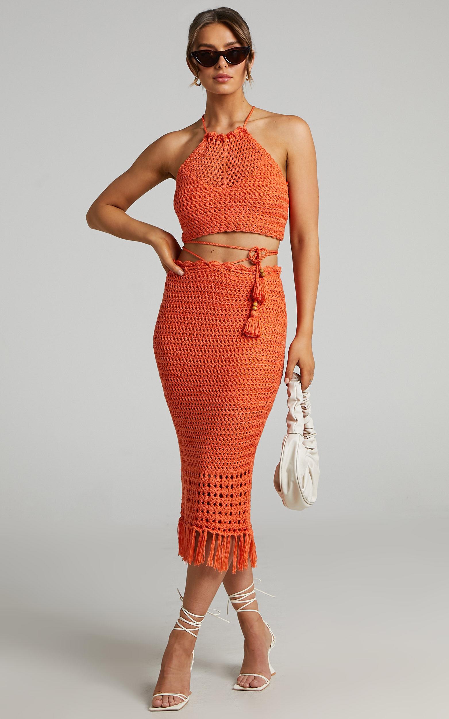 Cappadocia Crochet Midi Skirt in Orange - 06, ORG1, super-hi-res image number null