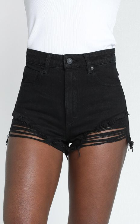 Abrand - A High Relaxed Denim Shorts in Salty Black