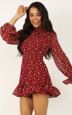 Minus The Fuss Playsuit In Wine Floral